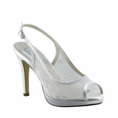Lydia White Lace Open Toe Womens Bridal Pumps - Shoes from Touch Ups by Benjamin Walk