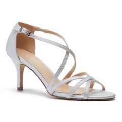 Lydia Silver Shimmer Open Toe Womens Prom Sandals - Shoes by Paradox London