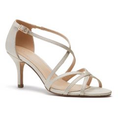 Lydia Champagne Shimmer Open Toe Womens Evening / Prom Sandals - Shoes by Paradox London