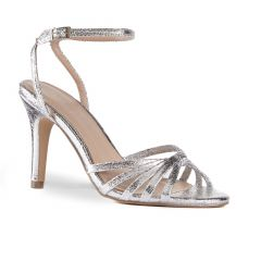 Mady Silver Foil Open Toe Womens Prom Sandals - Shoes by Paradox London