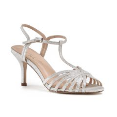 Maggie Silver Glitter Open Toe Womens Prom Sandals - Shoes by Paradox London