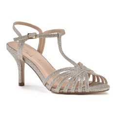 Maggie Champagne Glitter Open Toe Womens Evening / Prom Sandals - Shoes by Paradox London