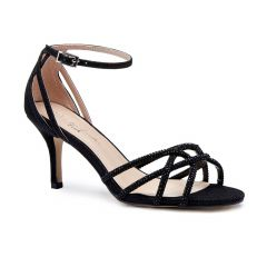 Majesty Black Glitter Shimmer Open Toe Womens Evening Sandals - Shoes by Paradox London