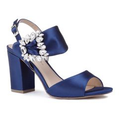 Manhattan Navy Satin Open Toe Womens Evening / Prom Sandals - Shoes by Paradox London