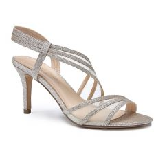 Marina Champagne Glitter Open Toe Womens Evening / Prom Sandals - Shoes by Paradox London
