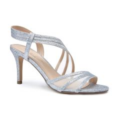 Marina Silver Glitter Open Toe Womens Prom Sandals - Shoes by Paradox London
