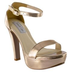 Mary Rose Gold Mirror Open Toe Womens Evening / Prom Sandals - Shoes from Touch Ups by Benjamin Walk