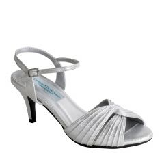 Matilda Silver Shimmer Open Toe Womens Prom Sandals - Shoes from Dyeables by Dyeables