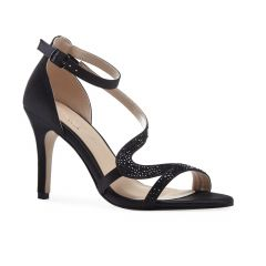 Mckayla Black Satin Open Toe Womens Evening Sandals - Shoes by Paradox London