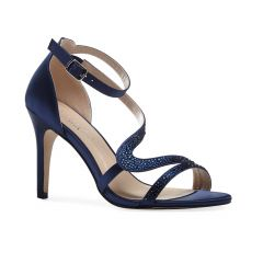 Mckayla Navy Satin Open Toe Womens Evening / Prom Sandals - Shoes by Paradox London