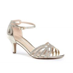 Melby Champagne Glitter Mesh Open Toe Womens Evening / Prom Sandals - Shoes by Paradox London