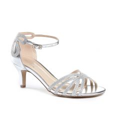 Melby Silver Glitter Mesh Open Toe Womens Prom Sandals - Shoes by Paradox London