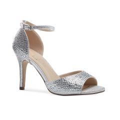 Mira Silver Glitter Open Toe Womens Prom Sandals - Shoes by Paradox London