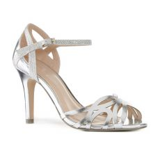 Monica Silver Patent Open Toe Womens Prom Sandals - Shoes by Paradox London