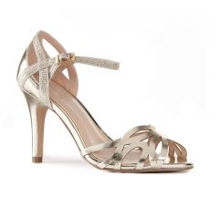 Monica Gold Patent Open Toe Womens Evening / Prom Sandals - Shoes by Paradox London