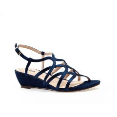 Opulent Navy Satin Open Toe Womens Evening / Prom Sandals - Shoes by Paradox London