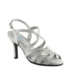 Paisley Silver Sparkle Open Toe Womens Prom Sandals - Shoes from Dyeables by Dyeables