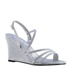 Phyllis Silver Shimmer Open Toe Womens Prom Sandals - Shoes from Touch Ups by Benjamin Walk