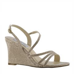 Phyllis Champagne Shimmer Open Toe Womens Evening / Prom Sandals - Shoes from Touch Ups by Benjamin Walk