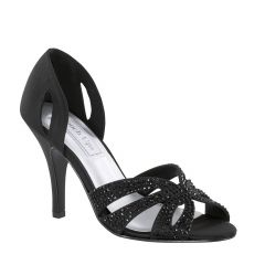 Poise Black Satin Open Toe Womens Evening Sandals - Shoes from Touch Ups by Benjamin Walk
