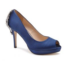 Priscilla Navy Satin Peeptoe Womens Evening / Prom Sandals - Shoes by Paradox London