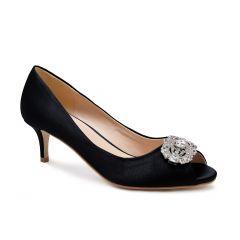 Prunella Black Satin Peeptoe Womens Evening Pumps - Shoes by Paradox London