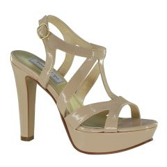 Queenie Nude Patent Open Toe Womens Pageant / Evening / Prom Sandals - Shoes from Touch Ups by Benjamin Walk