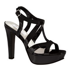 Queenie Black Patent Open Toe Womens Evening Sandals - Shoes from Touch Ups by Benjamin Walk