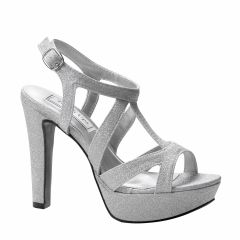 Queenie Silver Glitter Open Toe Womens Prom Sandals - Shoes from Touch Ups by Benjamin Walk