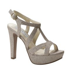 Queenie Champagne Glitter Open Toe Womens Evening / Prom Sandals - Shoes from Touch Ups by Benjamin Walk