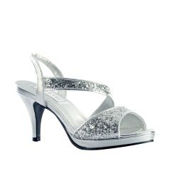 Reagan Silver Glitter Open Toe Womens Prom Sandals - Shoes from Touch Ups by Benjamin Walk