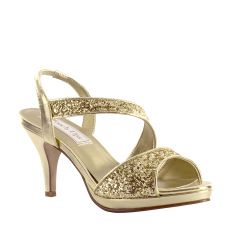 Reagan Gold Glitter Open Toe Womens Evening / Prom Sandals - Shoes from Touch Ups by Benjamin Walk