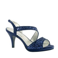 Reagan Navy Glitter Open Toe Womens Evening / Prom Sandals - Shoes from Touch Ups by Benjamin Walk