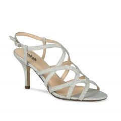 Opulent Silver Glitter Open Toe Womens Prom Sandals - Shoes by Paradox London