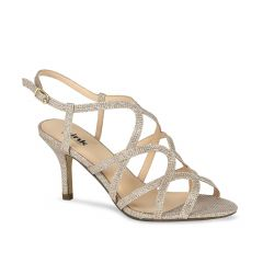 Rich Champagne Glitter Mesh Open Toe Womens Evening / Prom Sandals - Shoes by Paradox London