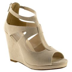Rory Beige Imit. Suede Open Toe Womens Evening / Prom Platform / Sandals - Shoes from Touch Ups by Benjamin Walk