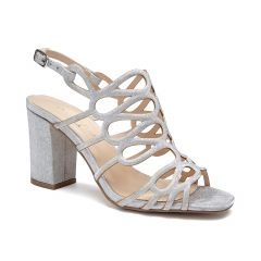 Salisa Silver Shimmer Open Toe Womens Prom Sandals - Shoes by Paradox London