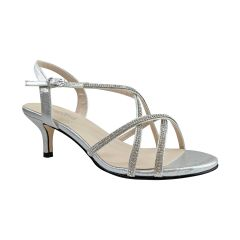 Sansa Silver Shimmer Open Toe Womens Prom Sandals - Shoes from Touch Ups by Benjamin Walk