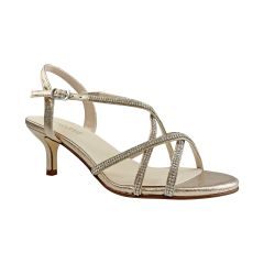Sansa Champagne Shimmer Open Toe Womens Evening / Prom Sandals - Shoes from Touch Ups by Benjamin Walk