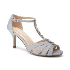 Sibel Silver Glitter Open Toe Womens Prom Sandals - Shoes by Paradox London