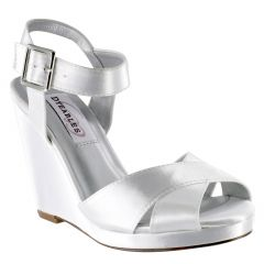 Stormy White Satin Open Toe Womens Bridal Platform / Sandals - Shoes from Dyeables by Benjamin Walk
