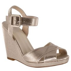 Stormy Nude Shimmer Open Toe Womens Evening / Prom Platform / Sandals - Shoes from Touch Ups by Benjamin Walk