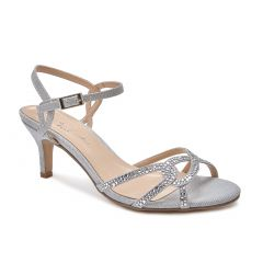 Summer Silver Glitter Open Toe Womens Prom Sandals - Shoes by Paradox London