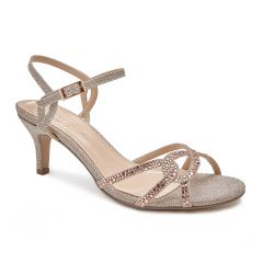 Summer Champagne Glitter Open Toe Womens Evening / Prom Sandals - Shoes by Paradox London