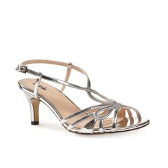 Trinity Silver Synthetic Open Toe Womens Prom Sandals - Shoes by Paradox London