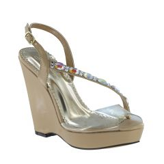 Wedge Taupe PU Open Toe Womens Pageant / Evening / Prom Sandals - Shoes from Johnathan Kayne by Benjamin Walk