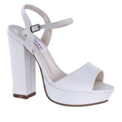 Whitta White Crepe Open Toe Womens Bridal Platform / Sandals - Shoes from Dyeables by Benjamin Walk